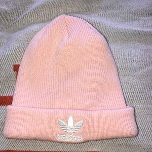 Adidas light pink beenie
